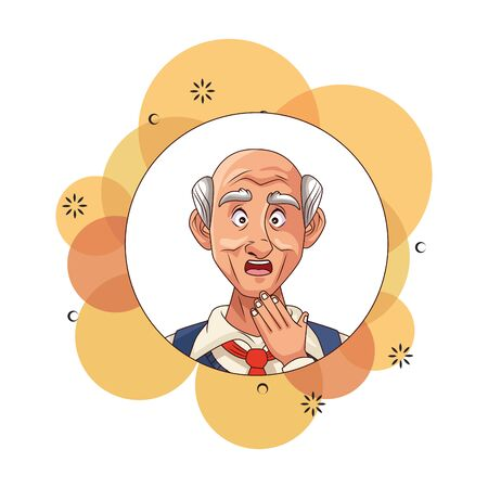 old man patient of alzheimer disease character vector illustration design Illustration