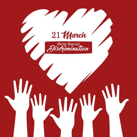 stop racism international day poster with hands silhouettes and heart vector design 向量圖像