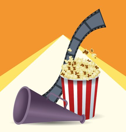 reel tape with popcorn bucket and directors megaphone over orange and white background, colorful design, vector illustration