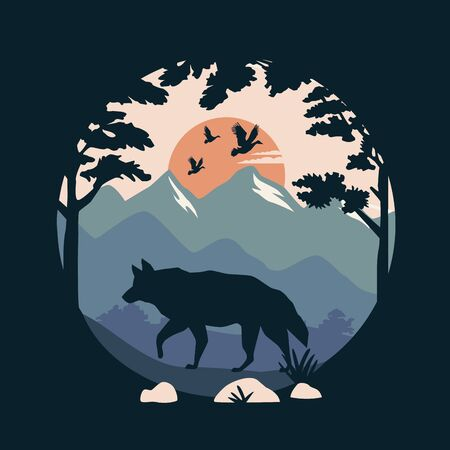 beautiful landscape with birds and wolf scene vector illustration design
