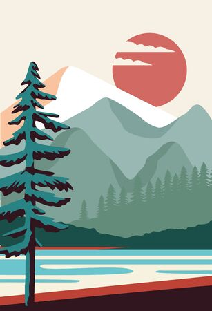 beautiful landscape with pine and lake scene vector illustration design