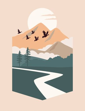 beautiful landscape with birds and river scene vector illustration design