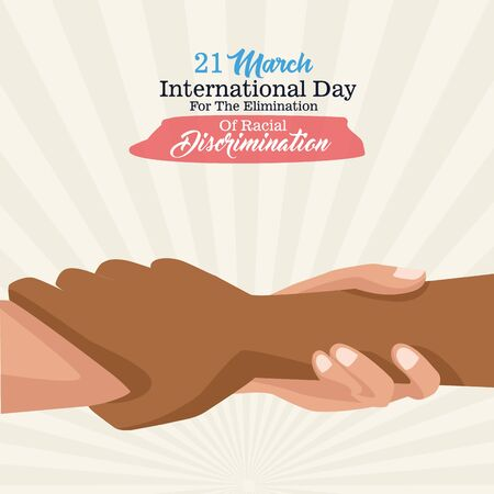 stop racism international day poster with interracial handshake vector illustration design