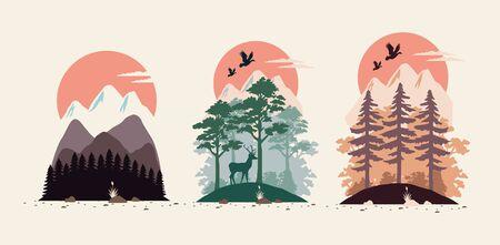bundle of beautiful landscapes set scenes vector illustration design