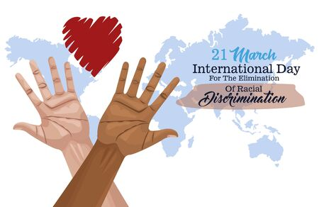 stop racism international day poster with hands and heart planet vector illustration design