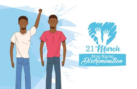 stop racism international day poster with afro men couple vector illustration design