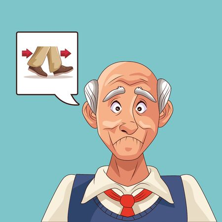 old man patient of alzheimer disease with thinking shoes vector illustration