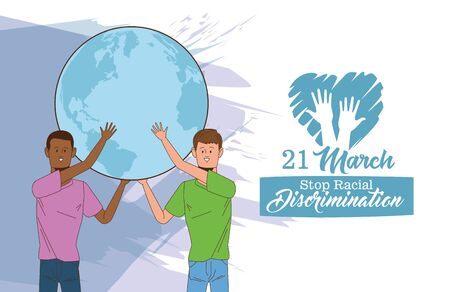 stop racism international day poster with interracial men lifting earth planet vector illustration design Illustration