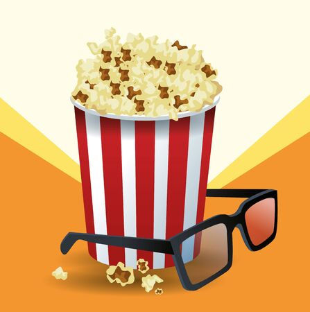 pop corn bucket and 3d glasses over orange and white background, colorful design, vector illustration