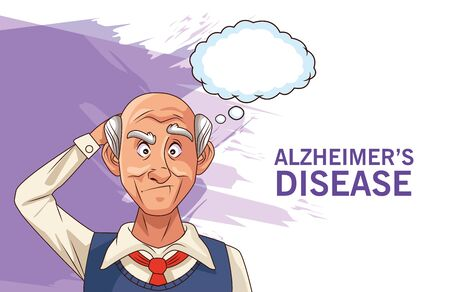 old man patient of alzheimer disease with speech bubble vector illustration design
