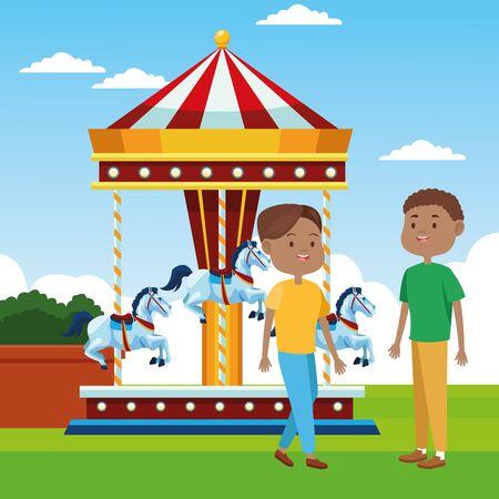 cartoon men standing over horses carousel over landscape background, colorful design, vector illustration