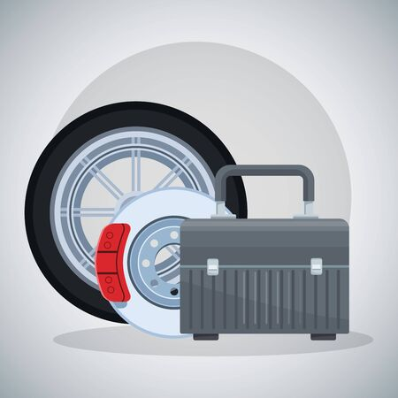 car tire, brake disc and tools box over gray background, colorful design, vector illustration