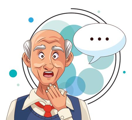 old man patient of alzheimer disease with speech bubble vector illustration