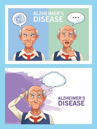 old men patients of alzheimer disease with speech bubbles vector illustration design Illustration