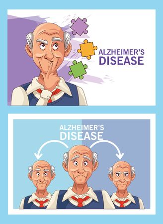 old men patients of alzheimer disease with puzzle pieces vector illustration design