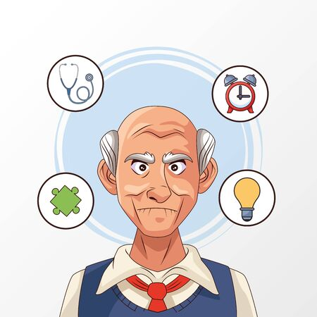 old man patient of alzheimer disease with set icons vector illustration