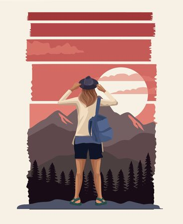 beautiful landscape with female traveler scene vector illustration design