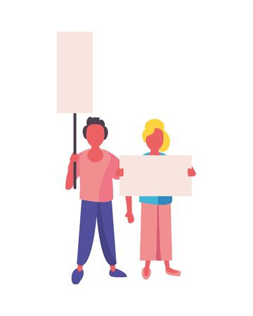 activists couple with protest banners vector illustration design Illustration