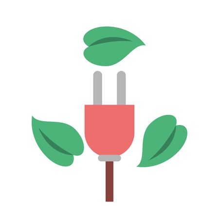 energy connector wire with leafs plant vector illustration design