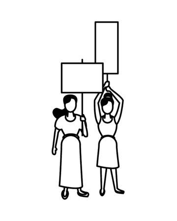 Aktivistenfrauen mit Protestfahnenvektorillustrationsdesign