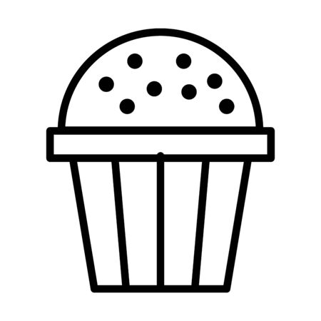 sweet cupcake pastry line style vector illustration design Ilustracja