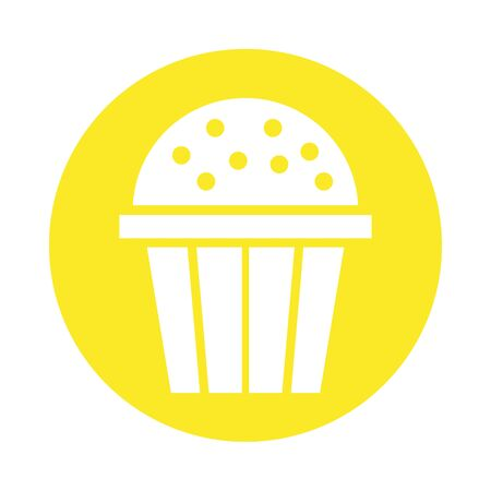 sweet cupcake pastry block style vector illustration design Ilustracja