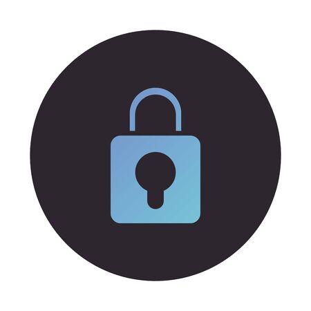 safe secure padlock block style icon vector illustration design