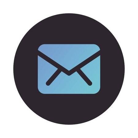 envelope mail send block style icon vector illustration design