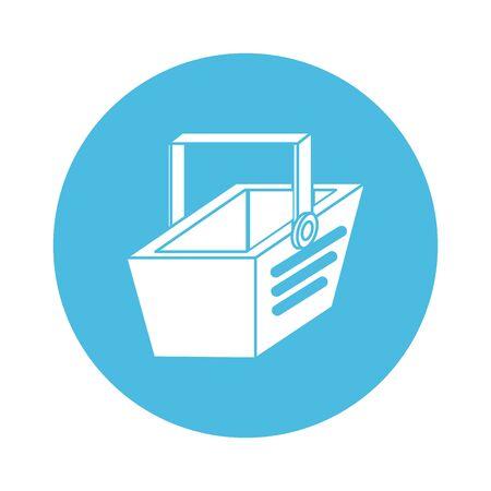 shopping basket commerce block style icon vector illustration design