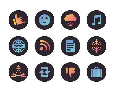 bundle of social media set icons vector illustration design Ilustración de vector
