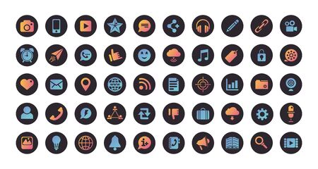 bundle of social media set icons vector illustration design