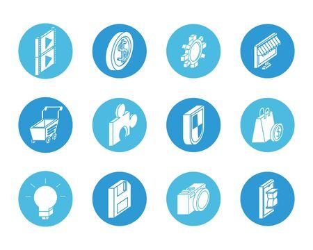 bundle of marketing set icons vector illustration design