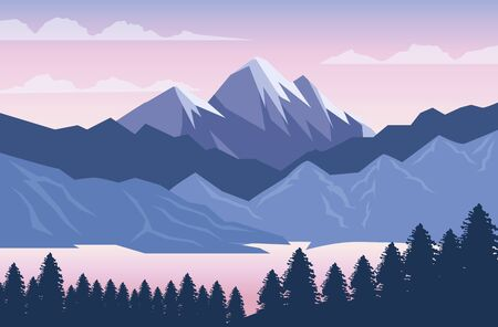 beautiful landscape with trees forest and mountains vector illustration design