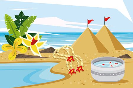 songkran celebration party with dish bowl on the beach vector illustration design