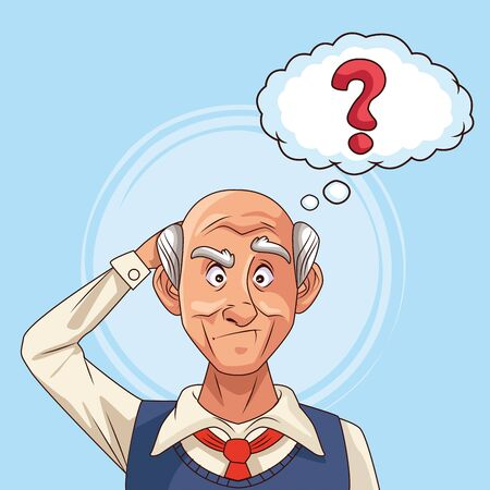 old man patient of alzheimer disease with ask speech bubble vector illustration design