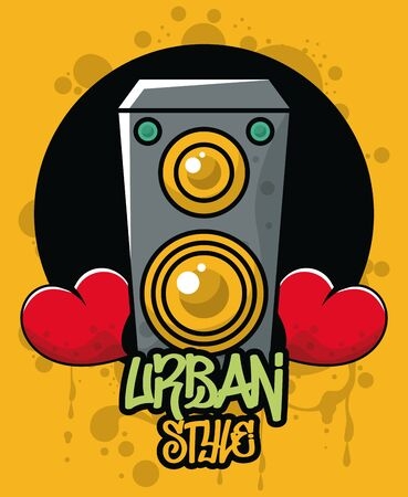 graffiti urban style poster with heart and speaker vector illustration design