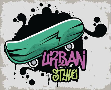 graffiti urban style poster with skateboard vector illustration design