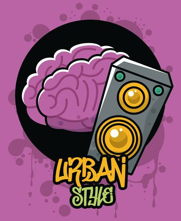 graffiti urban style poster with brain and speaker vector illustration design