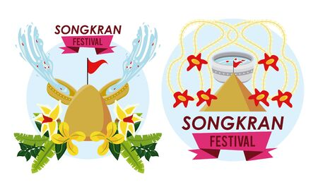 songkran celebration party scenes icons vector illustration design