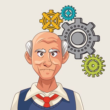 old man patient of alzheimer disease with gears machine vector illustration Vectores