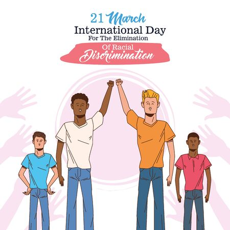stop racism international day poster with interracial men characters vector illustration design