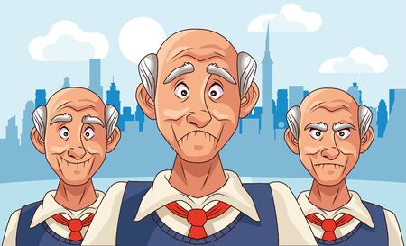 old men patients of alzheimer disease characters vector illustration design