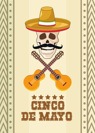 cinco de mayo celebration with skull and mexican hat vector illustration design