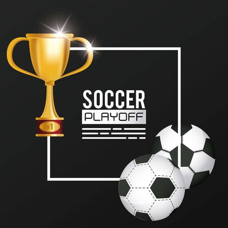 soccer sport balloon and trophy vector illustration design