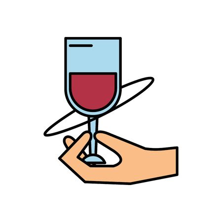 hand human lifiting wine cup drink vector illustration design