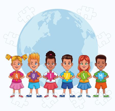world autism day kids with world planet and puzzle pieces vector illustration design