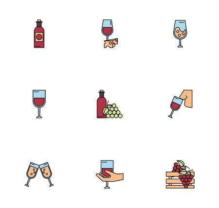 bundle of wine drink set icons vector illustration design