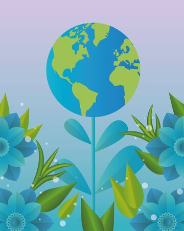 world planet earth with leafs plant vector illustration design