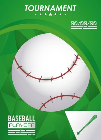 baseball sport poster with ball vector illustration design  イラスト・ベクター素材