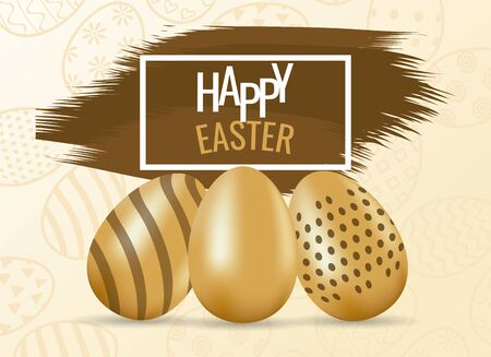 happy easter card with lettering and golden eggs painted vector illustration design